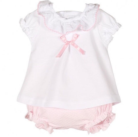 White Frill Top with Pink Jam Pants