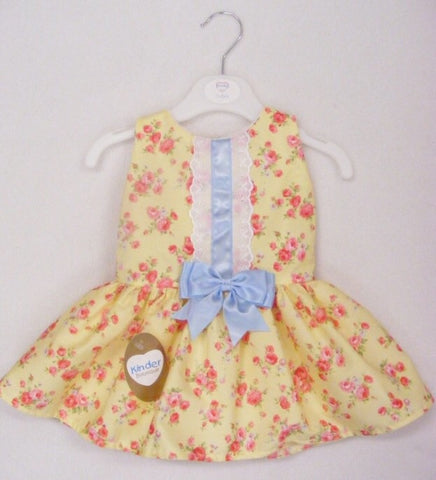 Yellow and Pink Roses Drop Waist Dress