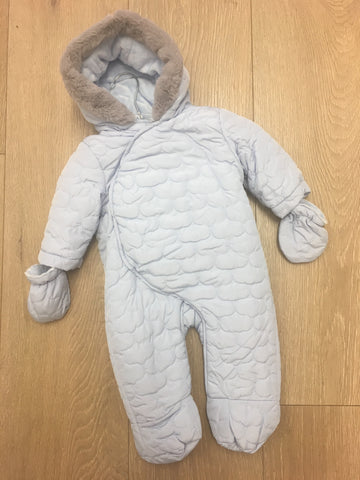 Baby Blue Snowsuit with Grey Furry Hood