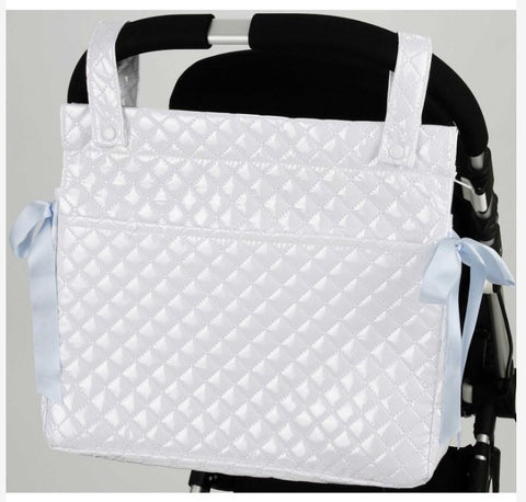 White Quilted Changing Bag with Blue Bows for the Pram