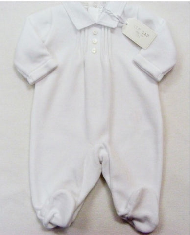 White Unisex Pintucked Velour Sleepsuit