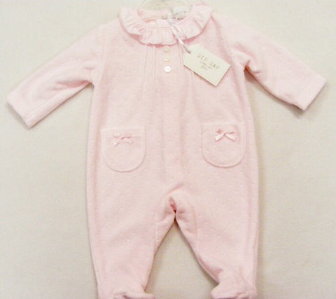 Pink Dimple Velour Sleepsuit