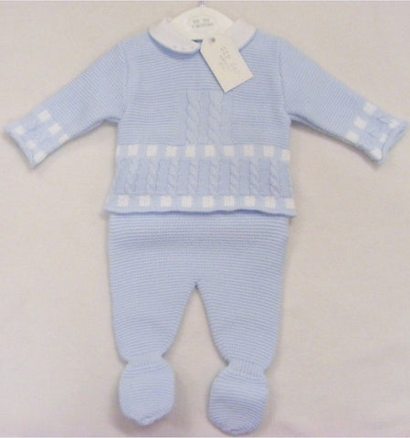 Blue Cable Knitted 2 Piece