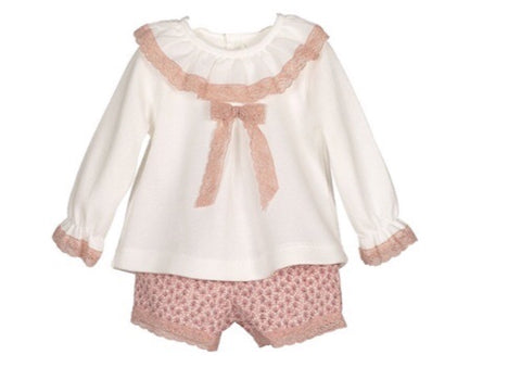 Cream Frill Top with Rose Pink Shorts