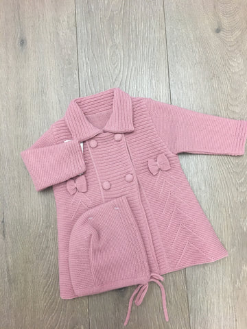 Rose Pink Knitted Bow Jacket with Bonnet