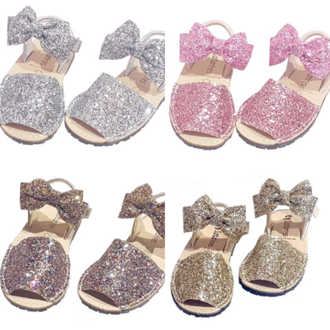 Children's Glitter Bow Sandals