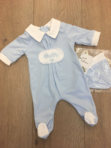 Blue Baby Cotton Sleepsuit With Hat