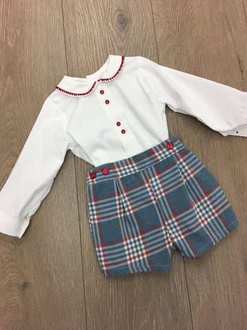 Red and Blue Tartan Short Set