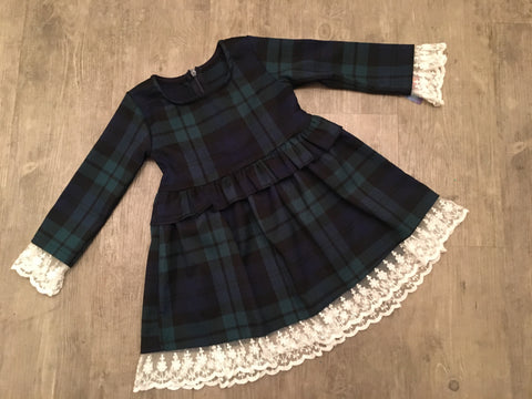 Green and Navy Tartan Lace Dress