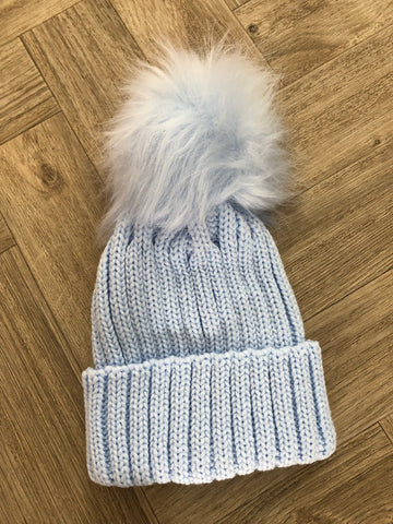 Baby Blue Faux Fur Pom Pom Hat