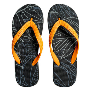 Men's Sig Zane Slippers (Uluwehi Keaukaha) Black & Orange