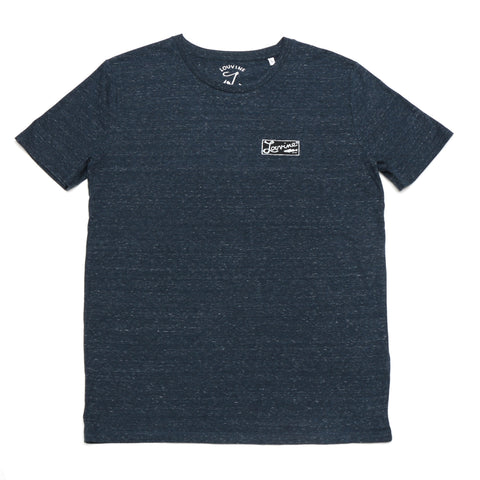 Louvine Dark Heather Denim Organic Round Neck T-shirt