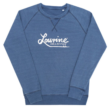 LOUVINE WHALER LOGO LIGHT INDIGO BLUE CREW SWEAT