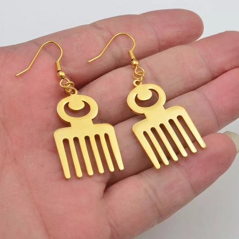 Adinkra Symbol Duafe African Earrings