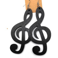 Large wooden musical symbol earrings (Treble Clef)