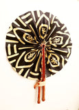 African Leather Folding Fan - adinkra