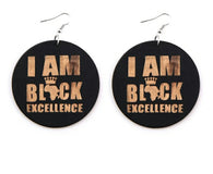 I am Black Excellence - Wooden Earrings