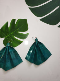 Leather fan statement earrings - Sky Blue