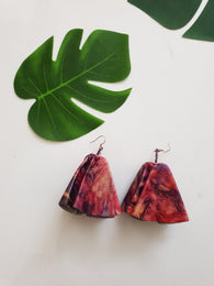 Leather statement parachute earrings - pink and purple batik