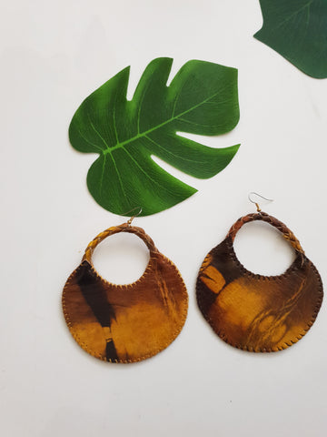 Leather statement parachute earrings