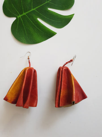 Leather statement earrings - tan