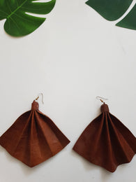 Leather fan statement earrings - tan