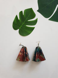Leather statement earrings - batik print