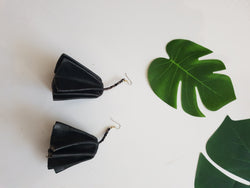 Leather statement arrings - black
