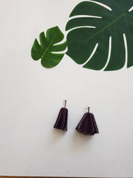 Leather statement earrings - purple