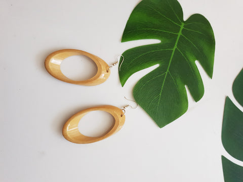Bamboo oval earrings