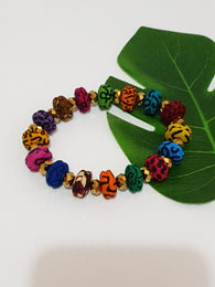 Handmade colourful African fabric bracelet