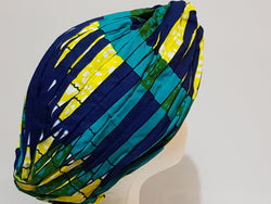 Blue african print head turban
