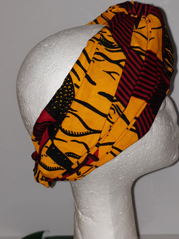 African fabric print turban style headband (ankara and kente) elastic headband / turban