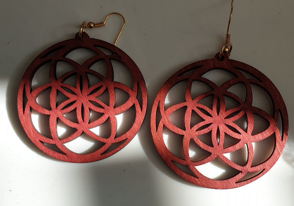 Circlular wooden patterned Earrings