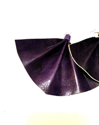Fan shaped statement earrings - Deep purple