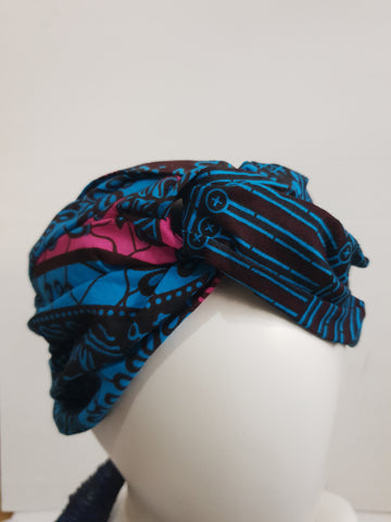 Blue and pink - Wide African print turban style headband