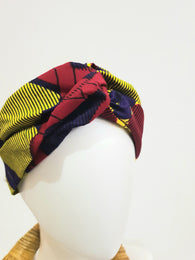 Red, purple and yellow African print turban style headband