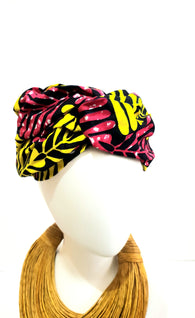 Red and pink African print turban style headband