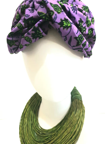 Purple  and green African print turban style headband