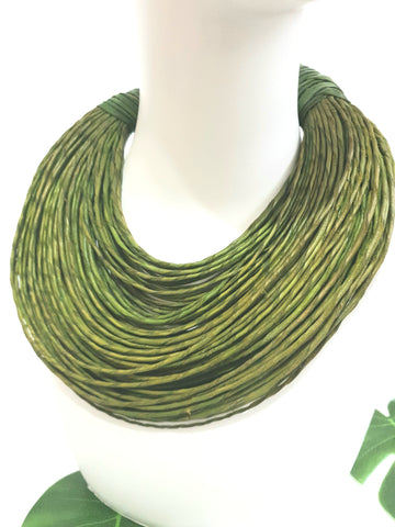 Lime green leather layered statement necklace