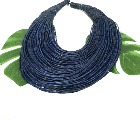Indigo blue leather layered statement necklace