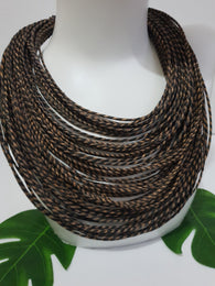 Brown mix leather layered bib statement necklace