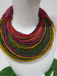 Multi-coloured rainbow leather layered statement necklace