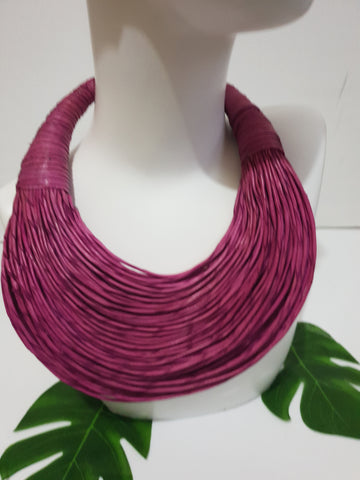 Pink fuschia leather layered bib statement necklace