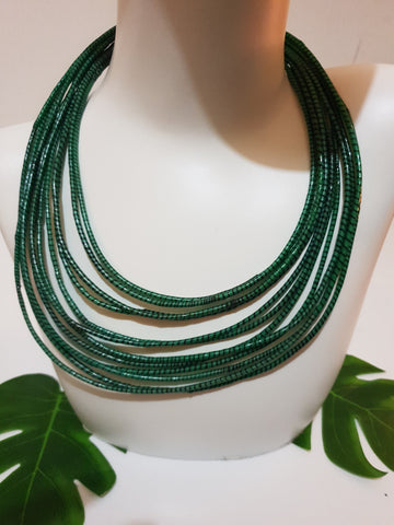 Green rubber statement necklace made from recycled Flip-Flops