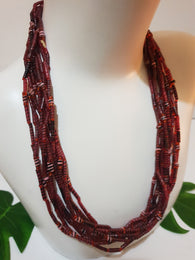 Red Statement necklace made from recycled Flip-Flops