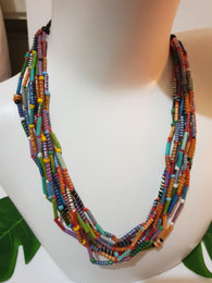 Statement necklace made from recycled Flip-Flop - multi-coloured