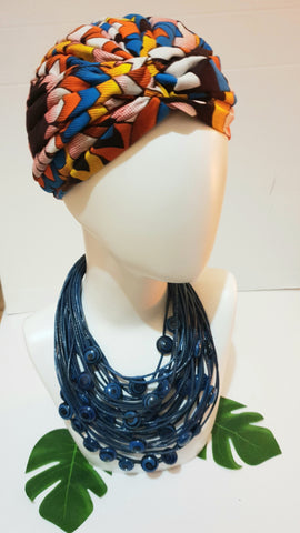 Statement necklace made from recycled Flip-Flops - blue and black