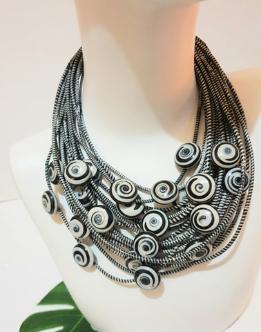 Statement necklace made from recycled Flip-Flops