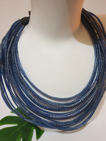 Rubber recycled Flip-Flops necklace - blue and white